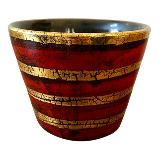Vintage Red Gold Italian Pottery Pot For Sale