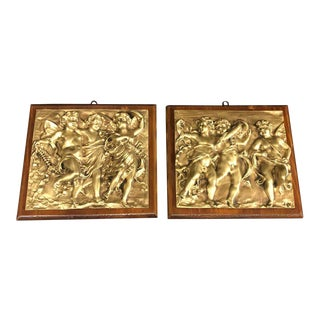 1870s Italian Antique Embossed Gilded Bronze Panels - Set of 2 For Sale