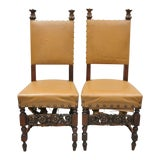 Image of Antique 19th Century Italian Renaissance Carved Walnut High Back Side Chairs- A Pair For Sale