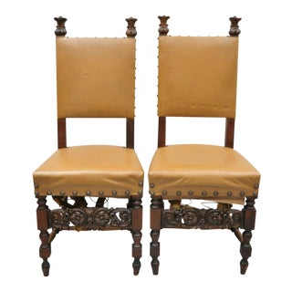 Antique 19th Century Italian Renaissance Carved Walnut High Back Side Chairs- A Pair For Sale
