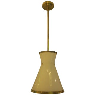 Custom Cone-Shaped White Glass Fixture with Applied Brass For Sale