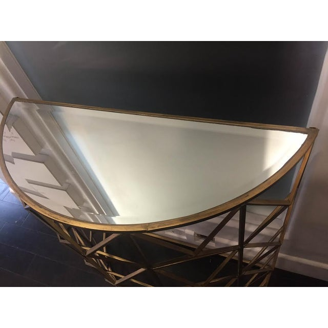 Gold Handforged Iron Geometric Console Table - Image 4 of 5