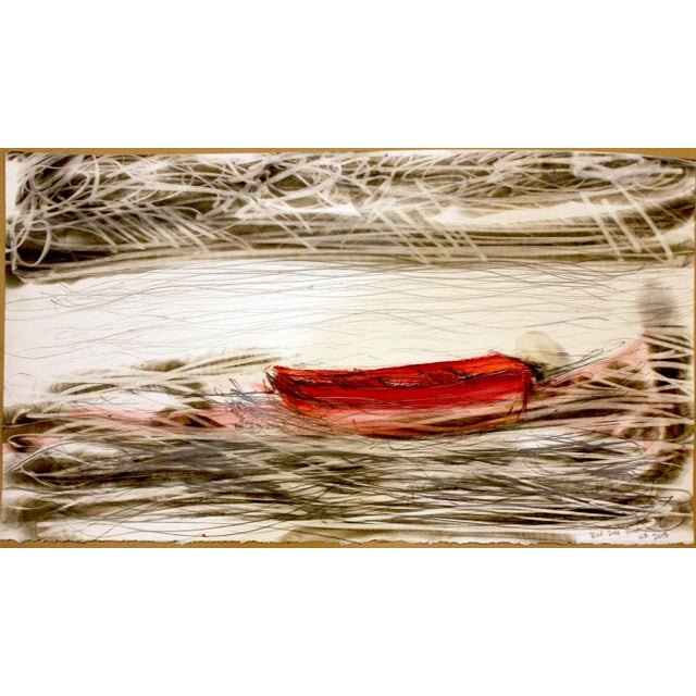 """Abstract Wayne Zebzda """"Red Life Boat"""" Carbon Smoke Acrylic Drawing on Paper For Sale - Image 3 of 3"""