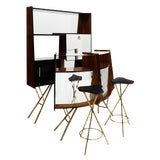 Image of Rare Vintage Italian Bar With Cabinet and Stools - Set of 4 For Sale