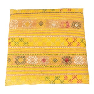 Vintage Luxury Wool Yellow Floor Pillow For Sale