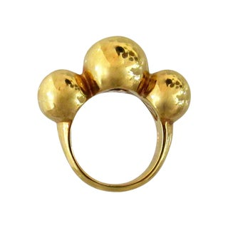 Vintage 14k Gold Italian Ring With Three Round Balls For Sale