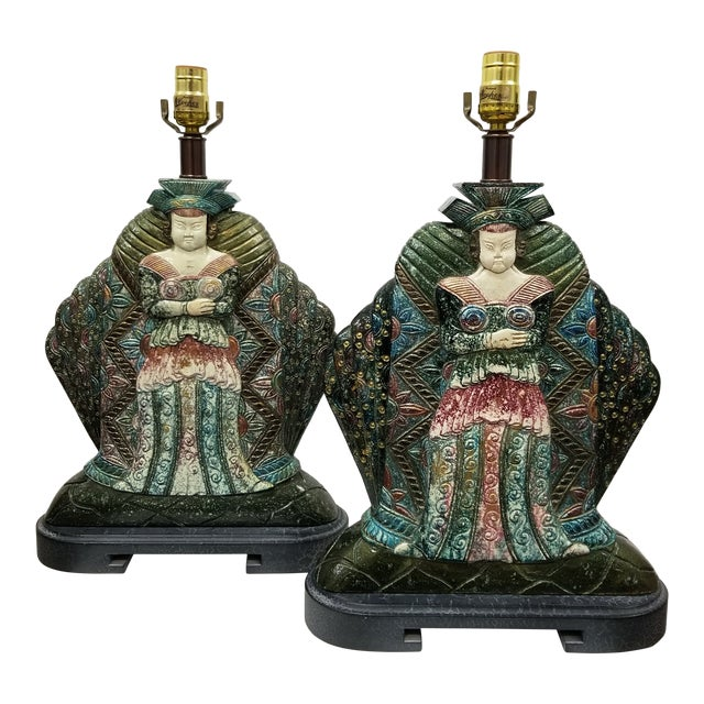 Vintage Asian Goddess Lamps-A Pair For Sale