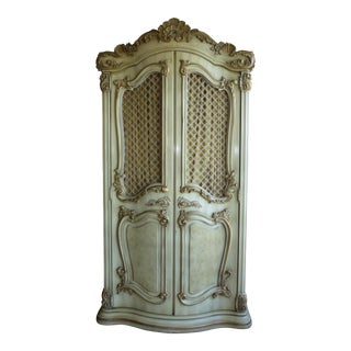 Vintage French Provincial Ornate Rococo Off White Armoire Wardrobe Italian Style For Sale