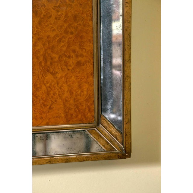 Art Deco Monumental Burl and Glass Art Deco Mirror For Sale - Image 3 of 7