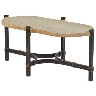 Iron Coffee Table With Bleached Oak Top, Originating in France, Circa 1900