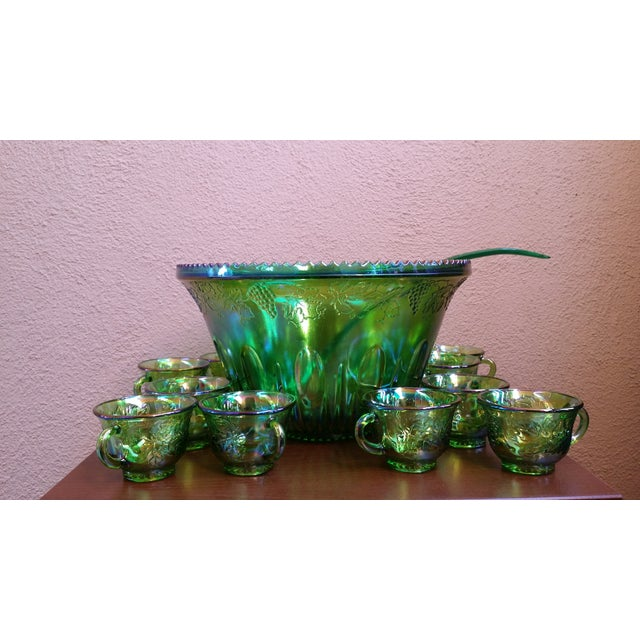 Carnival 1970s Iridescent Green & Brown Glassware - Image 2 of 8