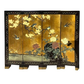Vintage Chinoiserie 4 Panel Gilded & Laqeured Folding Screen For Sale