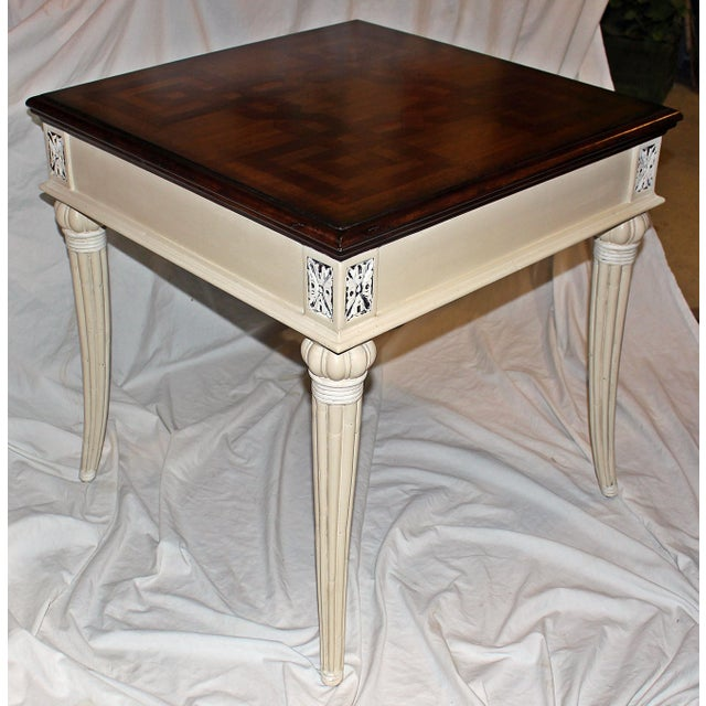 Parquetry-Top Painted Side-Table For Sale - Image 4 of 8
