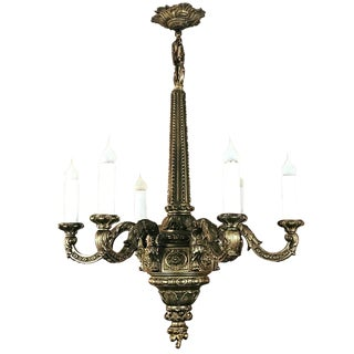 Antique French Baroque Bronze Chandelier For Sale