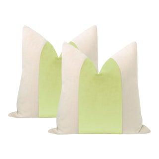 "22"" Celadon Velvet Panel & Linen Pillows - a Pair For Sale"