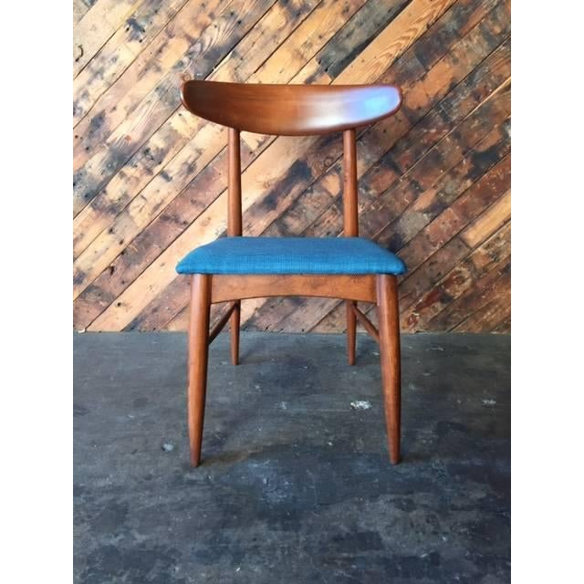 Mid Century Refinished Reupholstered Walnut Dining Desk Chair - Image 2 of 6