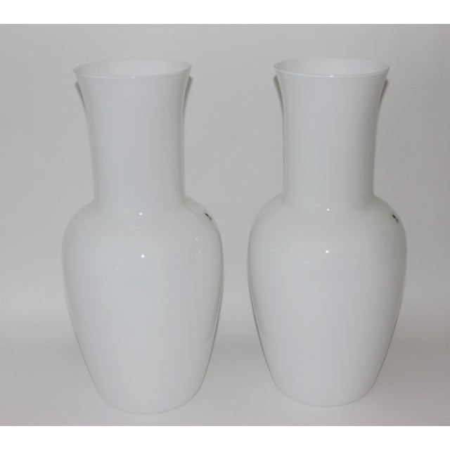Vintage Venini Murano White Glass Vases - a Pair - Part of a Collection For Sale In West Palm - Image 6 of 10