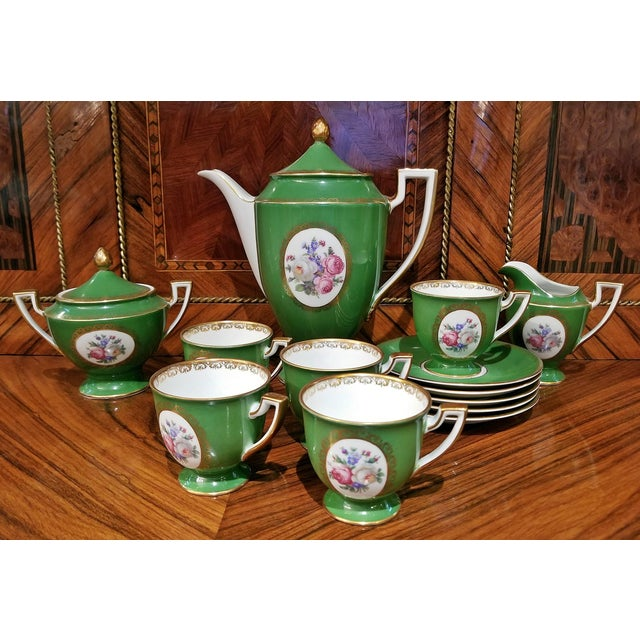 Mid 20th Century Vintage German Porcelain Royal Tettau Complete Coffee Service - 13 Pc. Set For Sale - Image 5 of 7