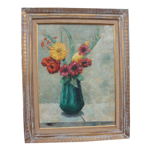 Alexander Vintage Still Life of Flowers Painting For Sale