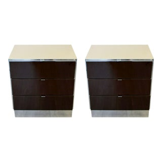 Contemporary Modern Mirrored Cabinets Nightstands by Ello 1980s Brown - a Pair For Sale