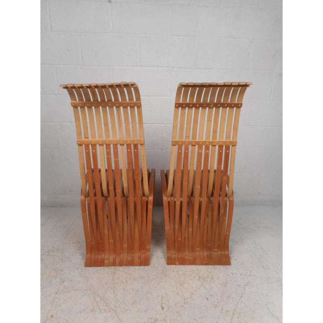 Mid 20th Century Pair of Vintage Wood-Slat Chairs For Sale - Image 5 of 11