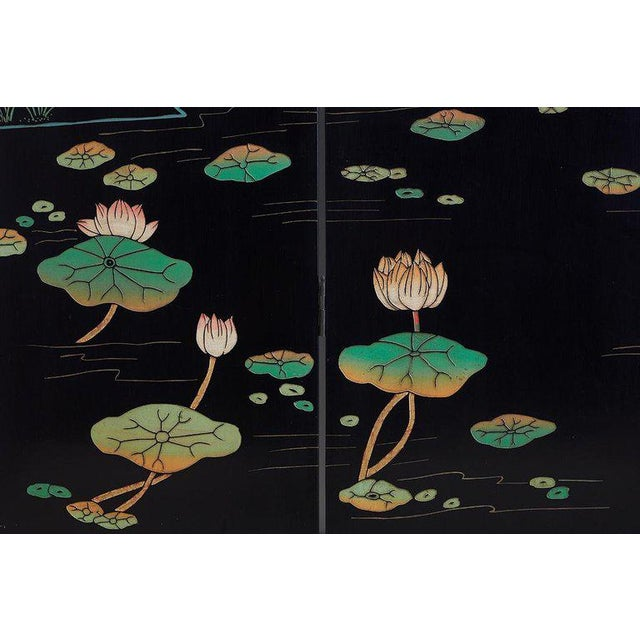 Mid 20th Century Chinese Four-Panel Coromandel Screen of Cranes For Sale - Image 5 of 13