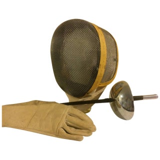 Vintage Castello Fencing Mask, Leather Glove and Foil For Sale