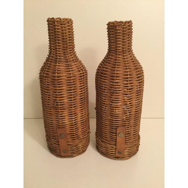 1970s Primitive Wicker Wine Bottle Basket Holders - a Pair For Sale In New York - Image 6 of 6