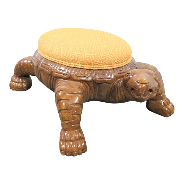 Carved Sea Turtle Ottoman For Sale