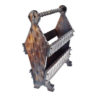 Vintage Carved Wood Magazine Rack Made in Spain For Sale