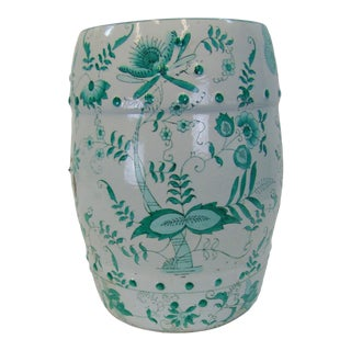 Chinese Green & White Decorated Garden Stool For Sale