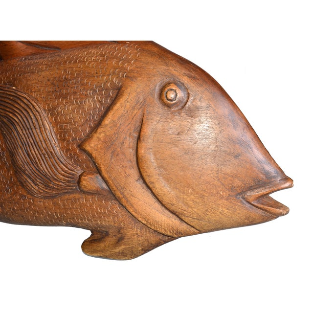 Jamaica hand carved from both sides wooden fish tray . This fish tray could be used as a kitchen decor, for a bread...