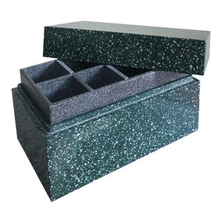 Post Modern Green Jesmonite Terrazzo Stone Jewelry Box