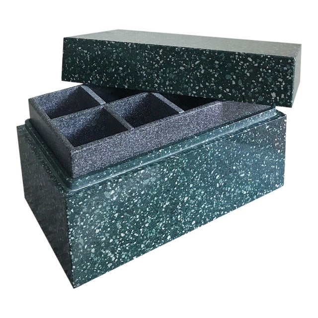 Post Modern Green Jesmonite Terrazzo Stone Jewelry Box For Sale