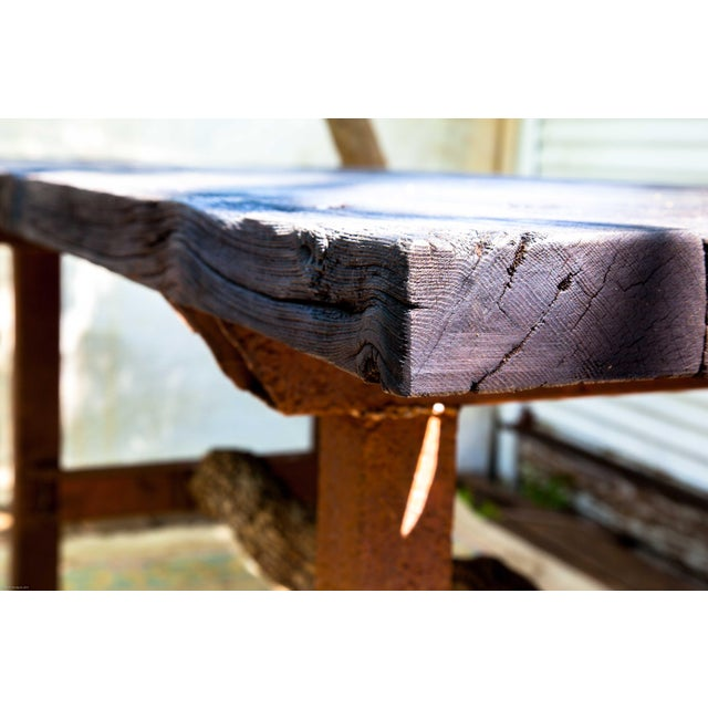 Metal Wabi-Sabi Yakisugi Wood Dining Island Table Console For Sale - Image 7 of 11