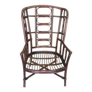 1970s Ficks Reed Rattan High Back Chair For Sale