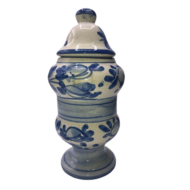 French vintage blue and white Quimper Breton apothecary jar. Circa 1950s.
