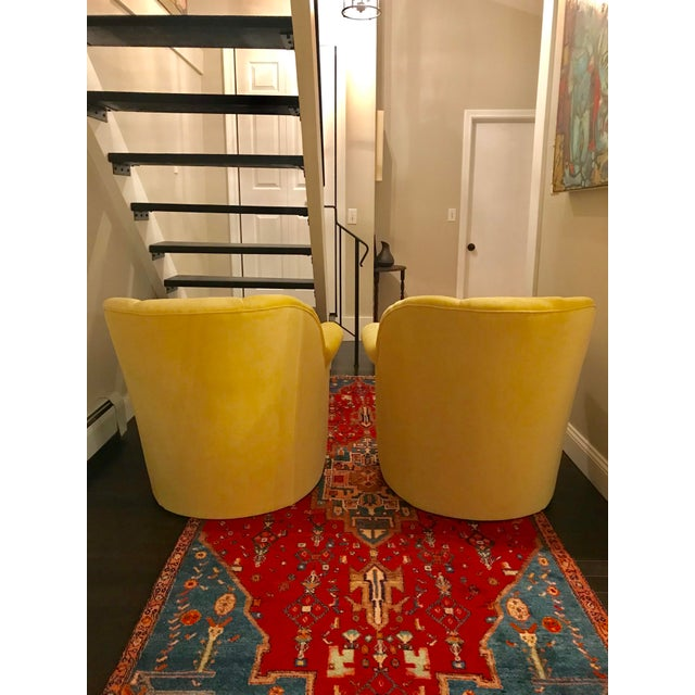 Vanguard Furniture 1980s American Classical Bright Yellow Velvet Vanguard Channel Back Chairs - a Pair For Sale - Image 4 of 12