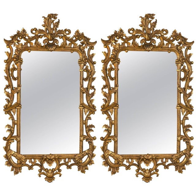Chippendale-Style Giltwood Carved Mirrors - A Pair For Sale