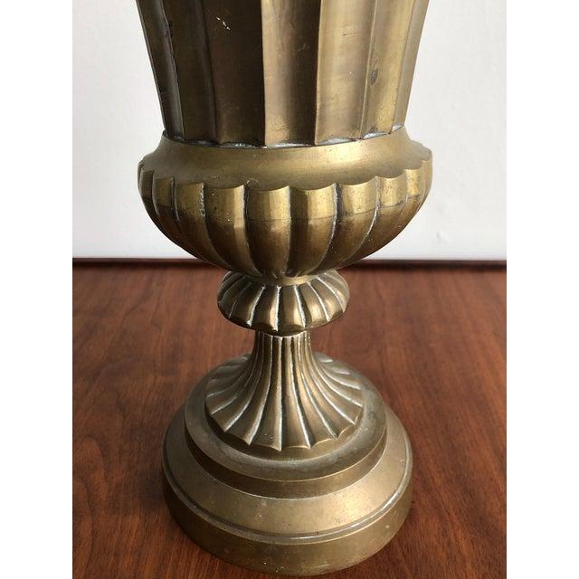 1940s Hollywood Regency Style Brass Urn Vase Planter For Sale - Image 5 of 8