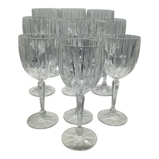 Vintage Mikasa Lexington Avenue Cut Clear Ball Stem Crystal Water Goblets -Set of 10 For Sale