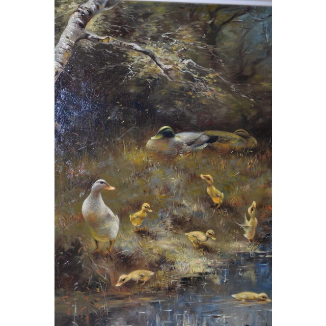 Hendrik Breedveld (Netherlands, b.1918) A Brood of Ducks At Waters Edge c.1950s A magnificent original oil painting by the...