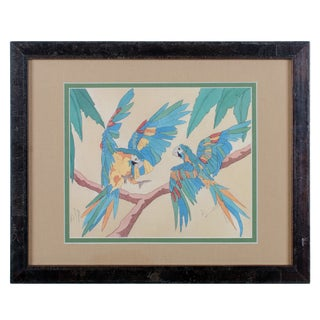 Two Macaws Tropical Print For Sale