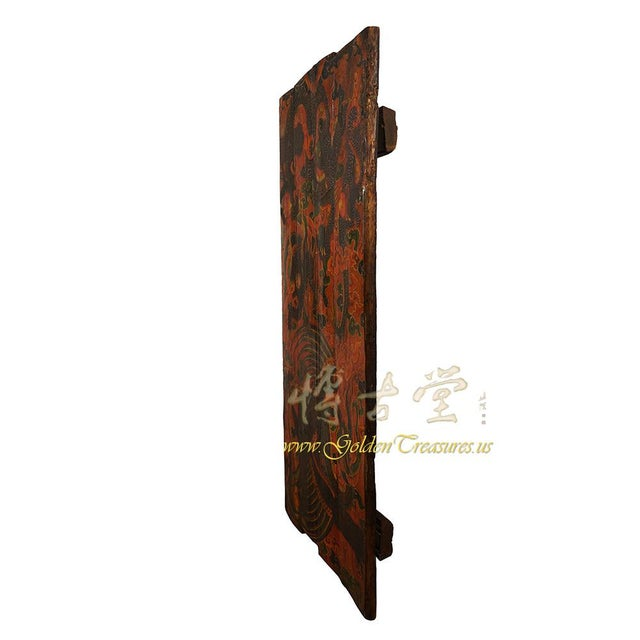 Wood Antique Tibetan Painted Door Panel For Sale - Image 7 of 9