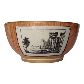 c.1920s Gio Ponti Attr. Faux-Bois Tromp L'oeil Ceramic Bowl For Sale