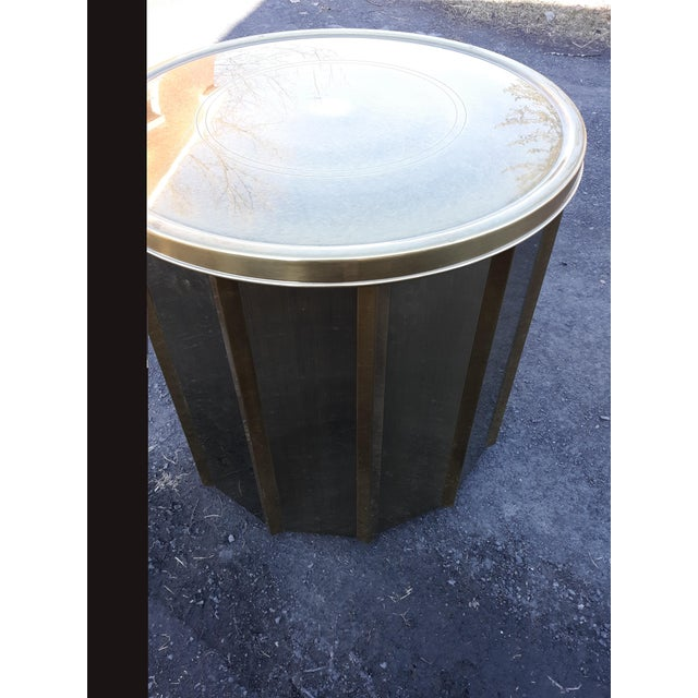 Metal Mastercraft Brass Octagonal Shape Faceted Dining Table For Sale - Image 7 of 13