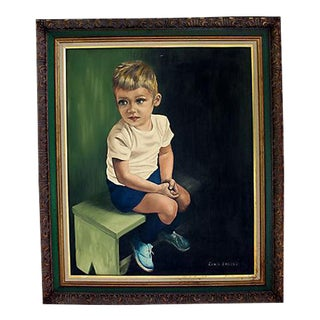 Vintage Portrait Painting - Boy on a Bench For Sale