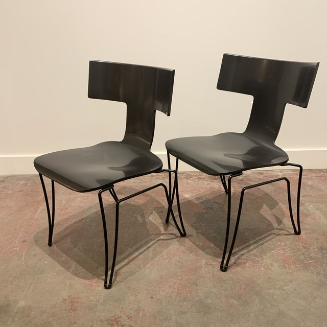 1960s Vintage Black Anziano Chairs by John Hutton for Donghia - a Pair For Sale - Image 9 of 9