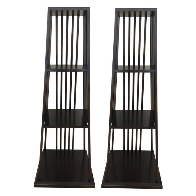 Painted Century Furniture Wood Etagere - Pair For Sale