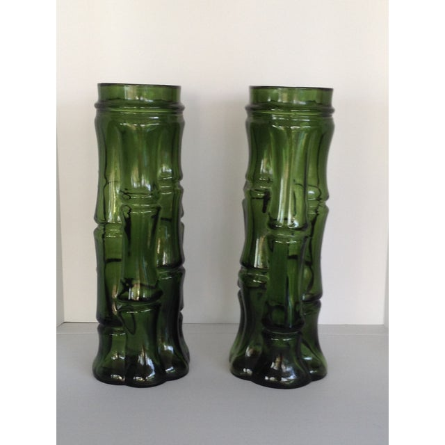 Vintage Faux Bamboo Green Glass Vases - A Pair - Image 2 of 5